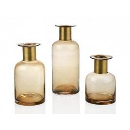 Váza skleněná, jantarová se zlatým pruhem, 12x12x18cm - (CR15001)