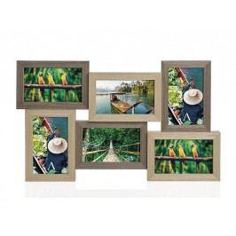 Fotorámeček dřevěný,kombinace barev, 6 fotek 10x15cm - (AX66110)