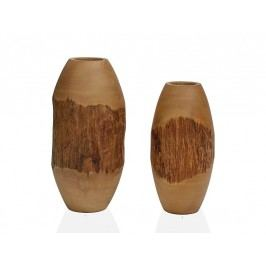 Váza dřev./kůra O12,7x25,4 cm - (AX15049)
