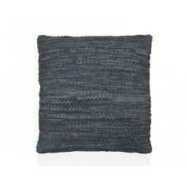 Polštář šedý, kožený efekt 50x50cm - (AX66055)