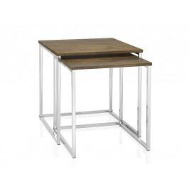 Set 2ks stolků, chrom/efekt dřeva, 35x35x39/40x40x42cm - (MU66051)