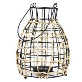 Bastion collections - Svícen na čajovou svíčku, sklo uvnitř drátěné konstukce omotaný jutou, 18x24cm