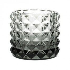 KERSTEN - Svícen, skleněný, šedý, 10x10x9cm - (WER-2111)