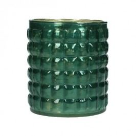KERSTEN - Svícen, skleněný, petrolejový, 8,5x8,5x10cm - (WER-1958)