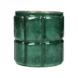 KERSTEN - Svícen, skleněný, petrolejový, 10x10x11cm - (WER-1961)