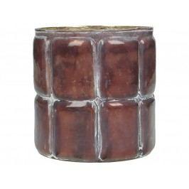 KERSTEN - Svícen, skleněný, vínová patina, 10x10x11cm - (WER-1962)