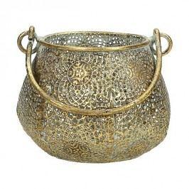 KERSTEN - Lucerna, kovová, zlatá patina, 10x10x8cm - (WER-1171)