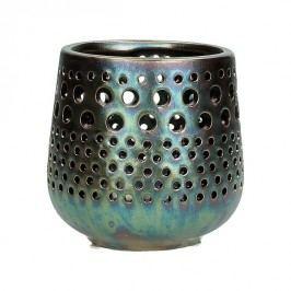 KERSTEN - Svícen, keramika, bronzový, 11x11x10,5cm - (WER-2332)