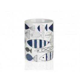 Zásobník na kartáčky, keramila, modrobílý, O8x10,5cm - (BA17083)
