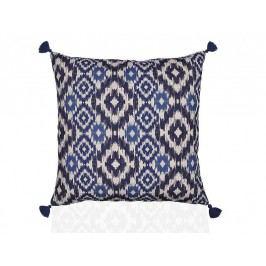 Polštář, IKAT, polyester, modrobílý, včetně výplně, 45x45cm - (AX17102)