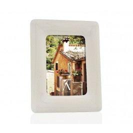 Fotorámeček, dřevěný, konvexní, bílý s dřevěnou strukturou, 10x15cm - (AX65151)