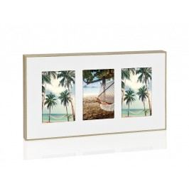 Fotorámeček, bílý s přírodním rámem na 3 fota, 10x15cm - (AX17061)