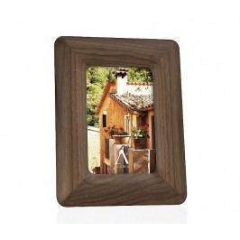 Fotorámeček, ořech, dřevěný, konvexní, hnědý s dřevěnou strukturou, 20x25cm - (AX6515