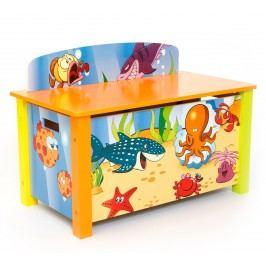 Homestyle4U Dětská truhla na hračky Oceán
