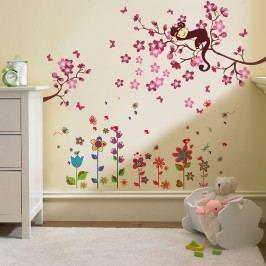Walplus Samolepky na zeď Barevné kytičky/Strom s opičkou, 132x144 cm