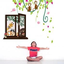 Walplus Samolepky na zeď Okno se zvířátky/Liány s opičkami, 150x135 cm