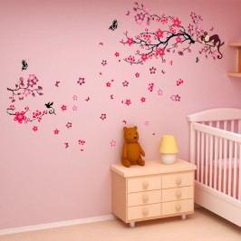 Walplus Samolepky na zeď Opička na stromě/Květy, 190x140 cm