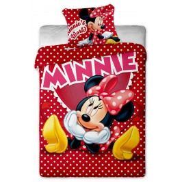 Jerry Fabrics Dětské puntíkované povlečení Minnie, 140x200 cm/70x90 cm - červené