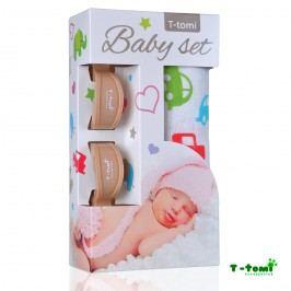 T-tomi Baby set - bambusová osuška auta+ kočárkový kolíček béžový