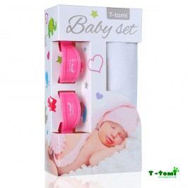 T-tomi Baby set - bambusová osuška bílá + kočárkový kolíček růžový