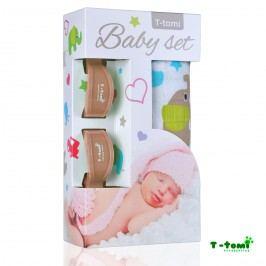 T-tomi Baby set - bambusová osuška zelení sloni + kočárkový kolíček béžový