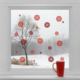 Housedecor Samolepky na sklo Kulaté vločky červené