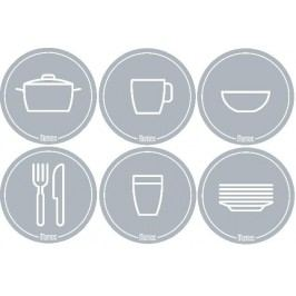 Mamiee Samolepky do kuchyně světle šedé - set 6 kusů