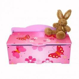 Homestyle4U Dětská truhla na hračky Motýlci