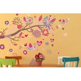 Walplus Samolepky na zeď Růžový ptáčci s kamínky Swarovski, 105x75 cm