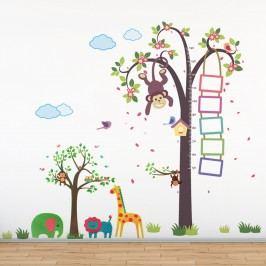 Walplus Samolepky na zeď Metr s opičkou a strom se zvířátky, 218x160 cm