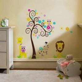 Walplus Samolepka na zeď Strom se žirafou, 112x97 cm