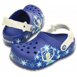 Crocs Dívčí svítící sandály Frozen Cerulean Blue Oyster