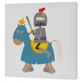 Mr. FOX Nástěnný obraz Knight - rytíř na modrém koni, 27x27 cm