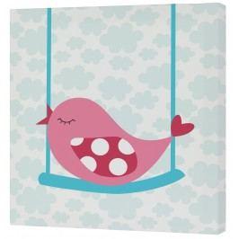 Mr. FOX Nástěnný obraz Little birds - růžový ptáček, 27x27 cm