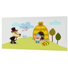 Mr. FOX Nástěnný obraz Little pigs - domeček ze slámy, 27x54 cm