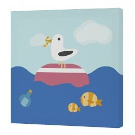 Happynois Nástěnný obraz Yellow Submarine - racek a rybičky, 27x27 cm