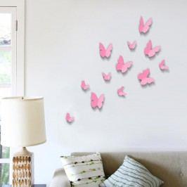 Walplus 3D samolepky na zeď Růžoví motýlci, 12 ks