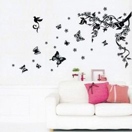 Walplus Samolepka na zeď Vinná réva a motýlci, 100x80 cm