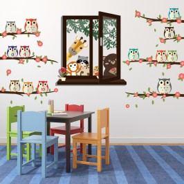Walplus Samolepky na zeď Okno se zvířátky a sovy s čísly, 200x105 cm