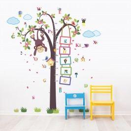 Walplus Samolepky na zeď Strom s opičkou a abecedou, 148x167 cm