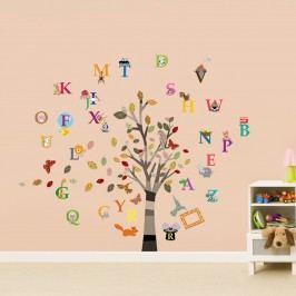 Walplus Samolepky na zeď Strom s abecedou, 150x130 cm