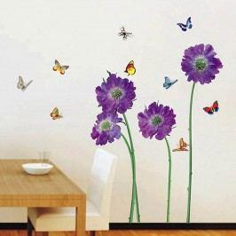 Walplus Samolepka na zeď Fialové květy a motýlci, 100x100 cm