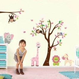 Walplus Samolepka na zeď Strom, zvířátka a růžová žirafa, 230x145 cm