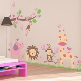 Walplus Samolepky na zeď Zvířátka a 3D motýlci, 125x90 cm
