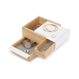 Šperkovnice Umbra STOWIT MINI - bílá/přírodní
