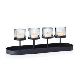 Svícen na 4 svíčky s tácem Blomus NERO