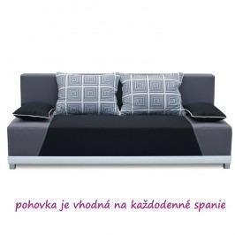 Pohovka, rozkládací s úložným prostorem, látka černá / šedá / polštáře šedý vzor, ROKAR
