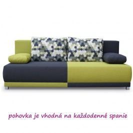 Pohovka rozkládací, s úložným prostorem, šedá / zelená / vzor polštáře, SPIKER