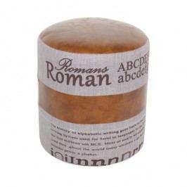 Taburetka, tmavě hnědá / šedá, ROMAN 1