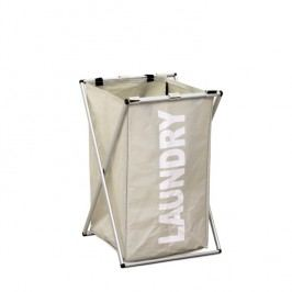 Látkový koš na prádlo, šedobéžová, LAUNDRY TYP 1